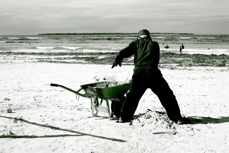 Cleaning beach @Bira Beach